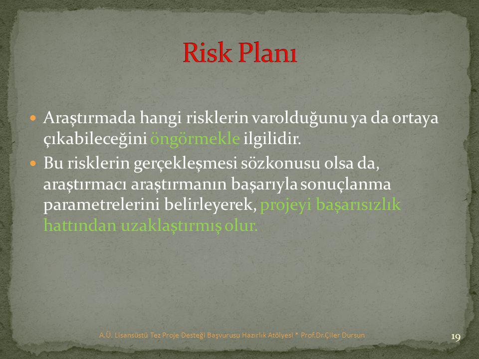 Araştırmada hangi risklerin varolduğunu ya da ortaya çıkabileceğini öngörmekle ilgilidir.