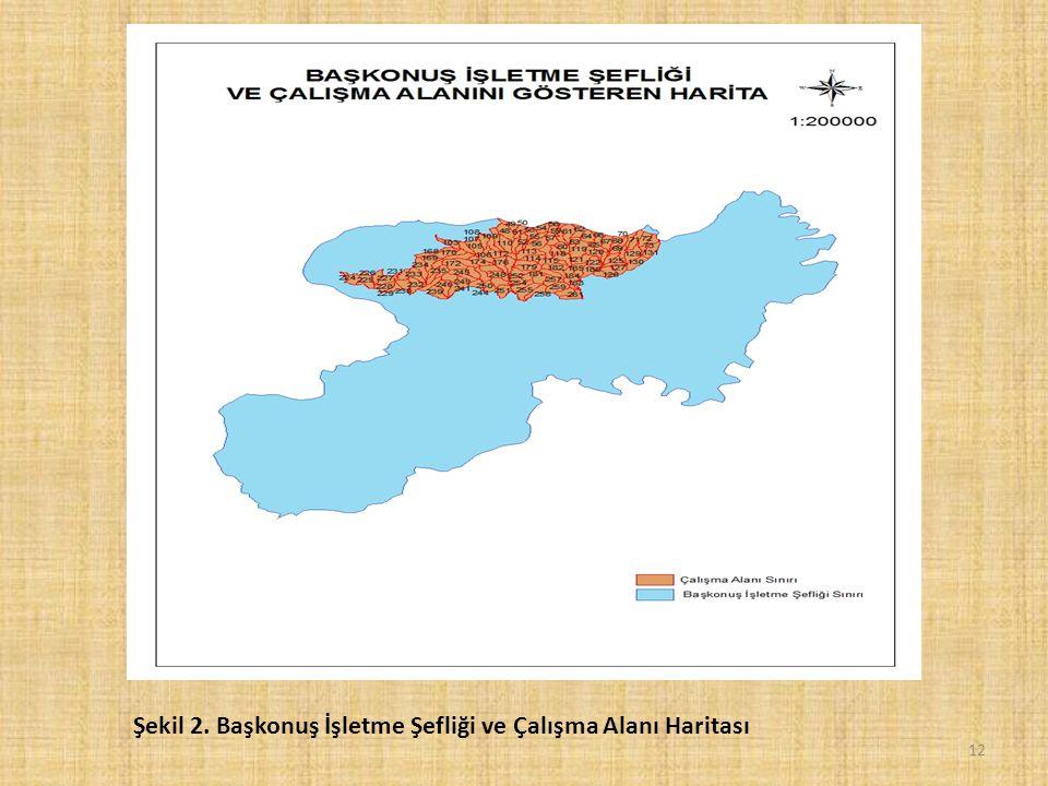 12 Şekil 2. Başkonuş İşletme Şefliği ve Çalışma Alanı Haritası