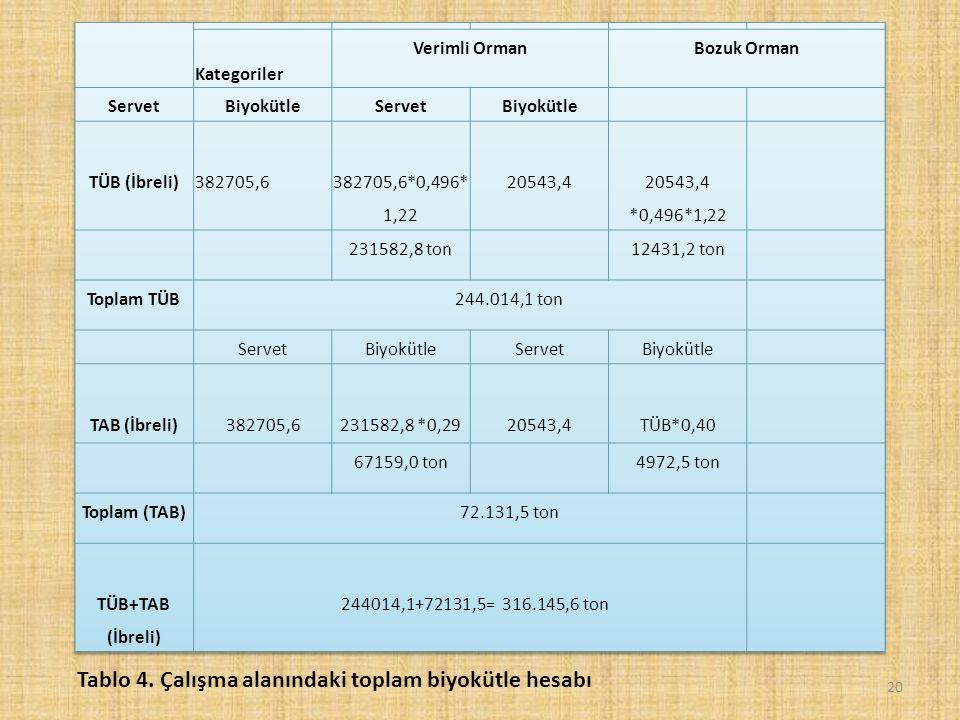 20 Tablo 4. Çalışma alanındaki toplam biyokütle hesabı