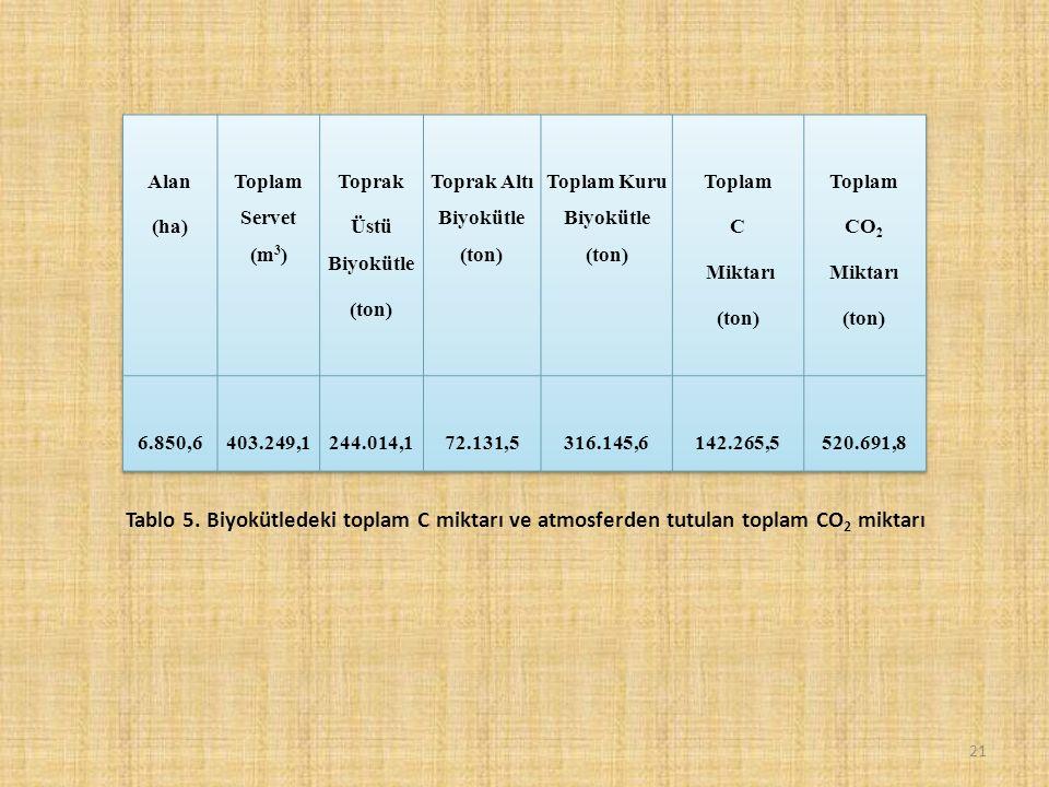 21 Tablo 5. Biyokütledeki toplam C miktarı ve atmosferden tutulan toplam CO 2 miktarı
