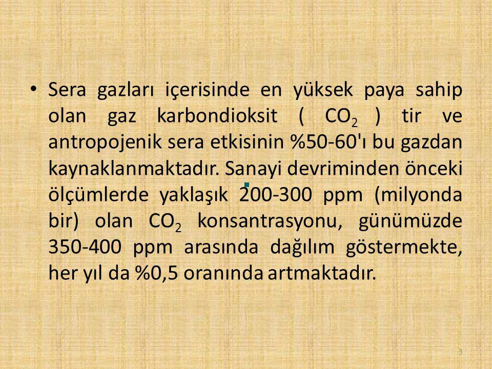 Sera gazları içerisinde en yüksek paya sahip olan gaz karbondioksit ( CO 2 ) tir ve antropojenik sera etkisinin %50-60 ı bu gazdan kaynaklanmaktadır.