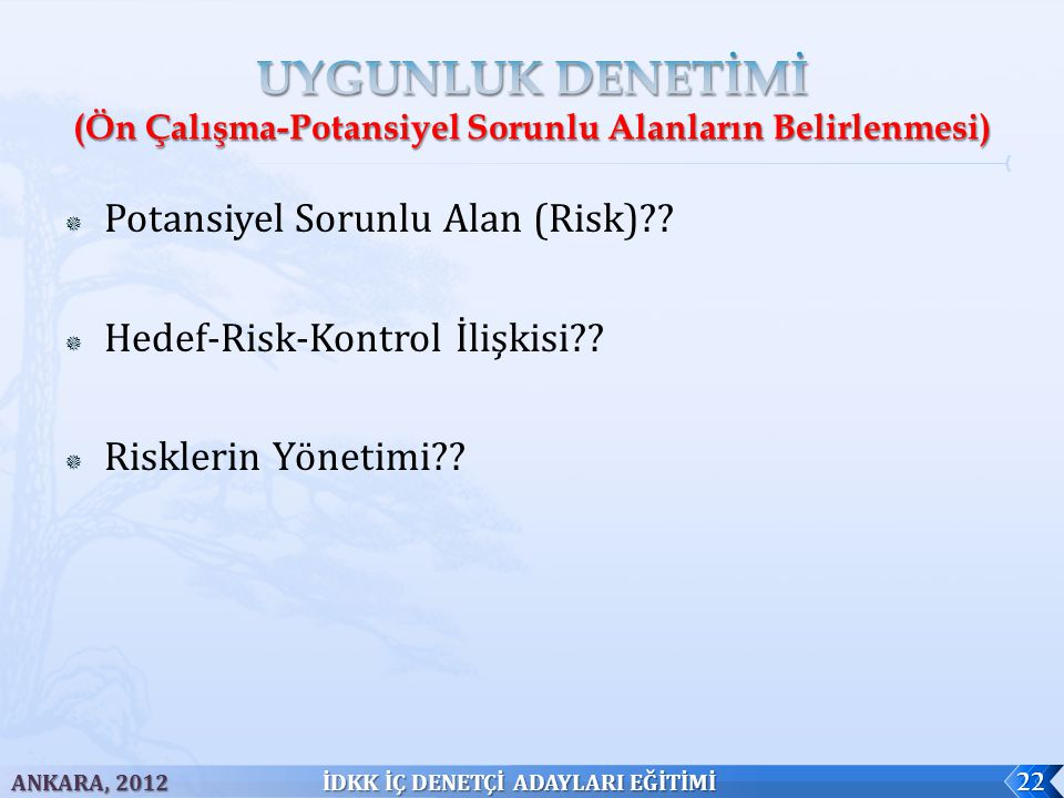  Potansiyel Sorunlu Alan (Risk)?. Hedef-Risk-Kontrol İlişkisi?.