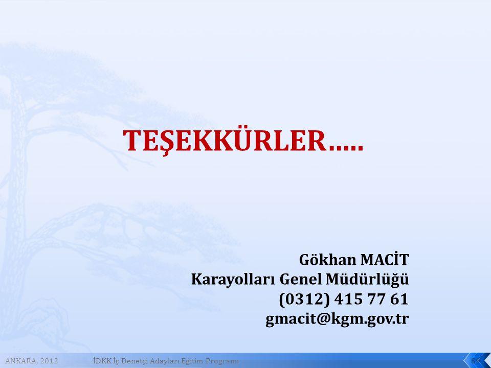 ANKARA, 2012İDKK İç Denetçi Adayları Eğitim Programı89 TEŞEKKÜRLER…..