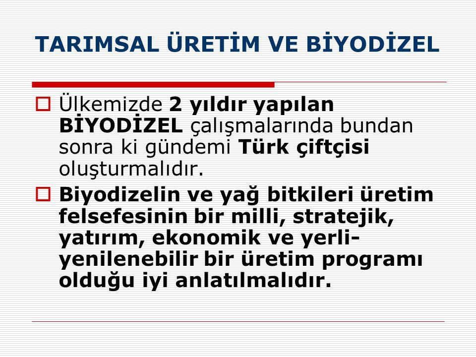 TARIMSAL ÜRETİM VE BİYODİZEL  Ülkemizde 2 yıldır yapılan BİYODİZEL çalışmalarında bundan sonra ki gündemi Türk çiftçisi oluşturmalıdır.