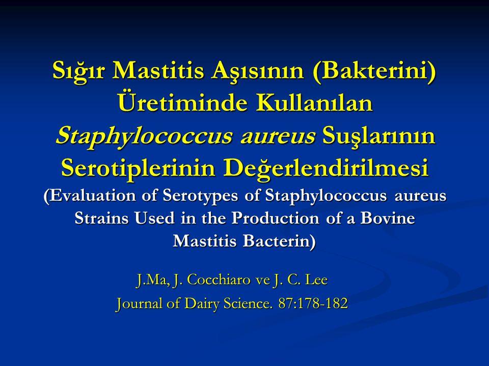 Sığır Mastitis Aşısının (Bakterini) Üretiminde Kullanılan Staphylococcus aureus Suşlarının Serotiplerinin Değerlendirilmesi (Evaluation of Serotypes o