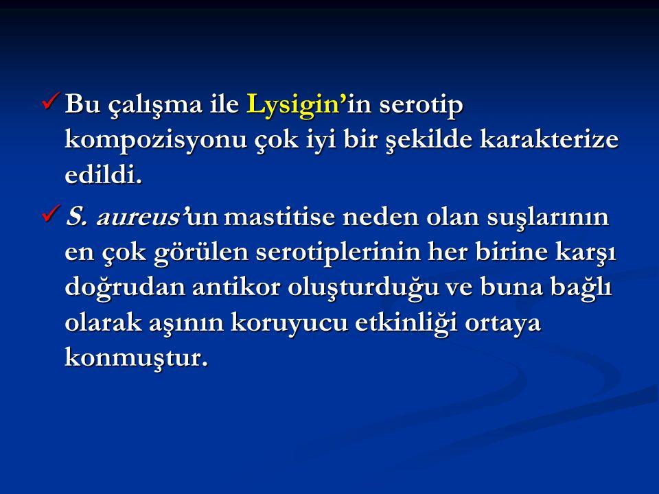 Bu çalışma ile Lysigin'in serotip kompozisyonu çok iyi bir şekilde karakterize edildi. Bu çalışma ile Lysigin'in serotip kompozisyonu çok iyi bir şeki
