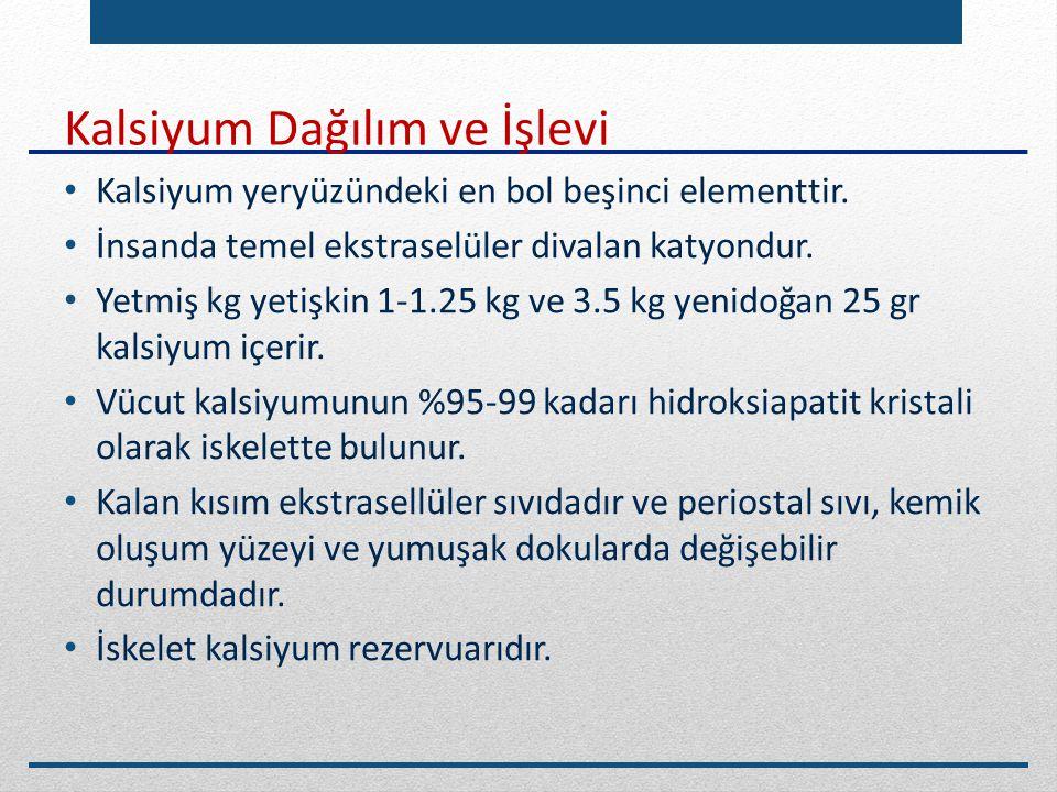 Kalsiyum Dağılım ve İşlevi Kalsiyum yeryüzündeki en bol beşinci elementtir. İnsanda temel ekstraselüler divalan katyondur. Yetmiş kg yetişkin 1-1.25 k