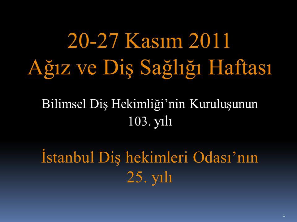 Çeyrek Yüzyılı Geride Bırakırken… Bu yıl 20-27 Kasım 2011 tarihleri arasında Bilimsel Diş Hekimliği'nin 103.yılını, meslek Odamızın 25.