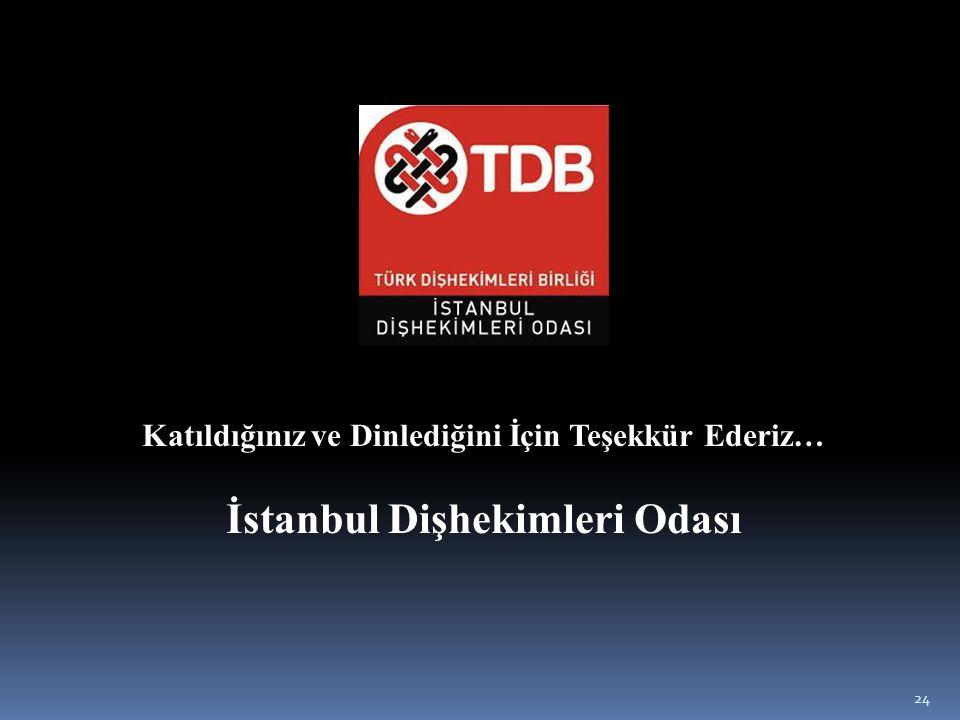 24 Katıldığınız ve Dinlediğini İçin Teşekkür Ederiz… İstanbul Dişhekimleri Odası
