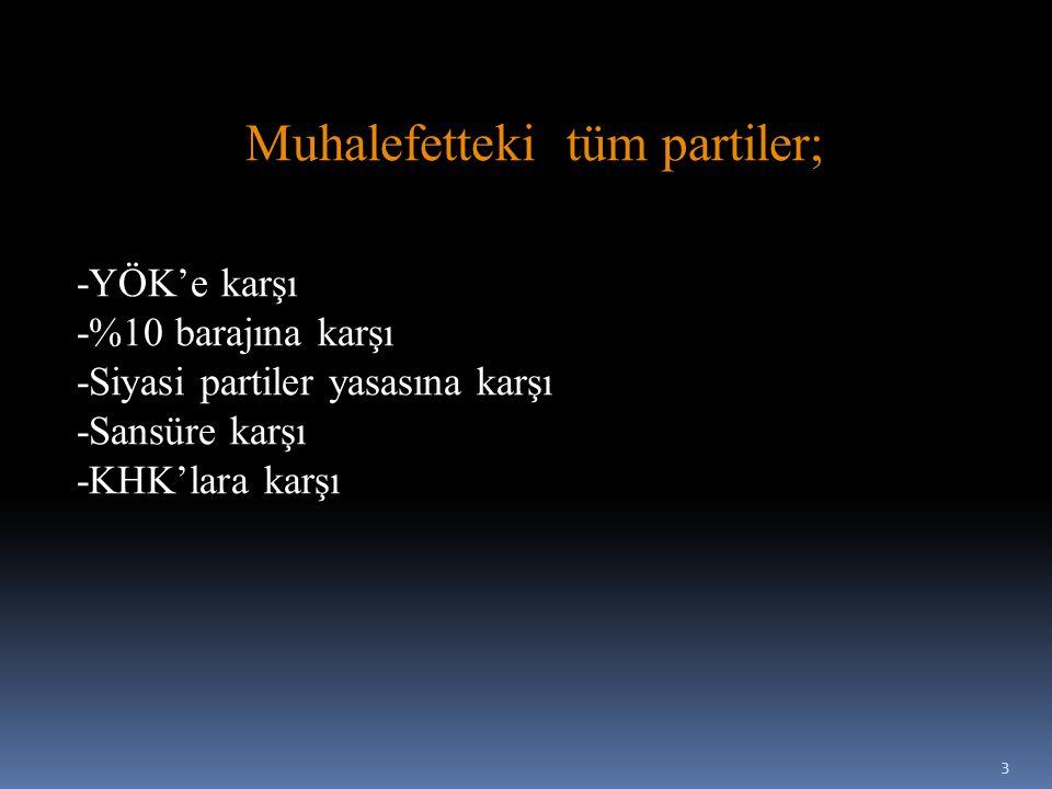 Muhalefetteki tüm partiler; -YÖK'e karşı -%10 barajına karşı -Siyasi partiler yasasına karşı -Sansüre karşı -KHK'lara karşı 3