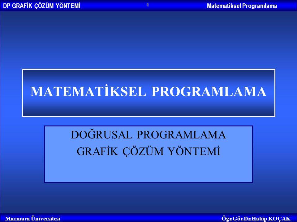 Matematiksel ProgramlamaDP GRAFİK ÇÖZÜM YÖNTEMİ Marmara ÜniversitesiÖğr.Gör.Dr.Habip KOÇAK 2 Temel Kavramlar Çözüm: Bir doğrusal programlama probleminin kısıtlayıcı fonksiyonlarının hepsini birden sağlayan karar değişkenlerinin (x 1, x 2,..., x n ) oluşturduğu kümeye çözüm denir.