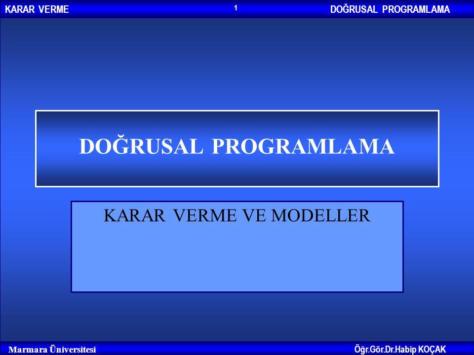 DOĞRUSAL PROGRAMLAMAKARAR VERME Öğr.Gör.Dr.Habip KOÇAK Marmara Üniversitesi 1 DOĞRUSAL PROGRAMLAMA KARAR VERME VE MODELLER