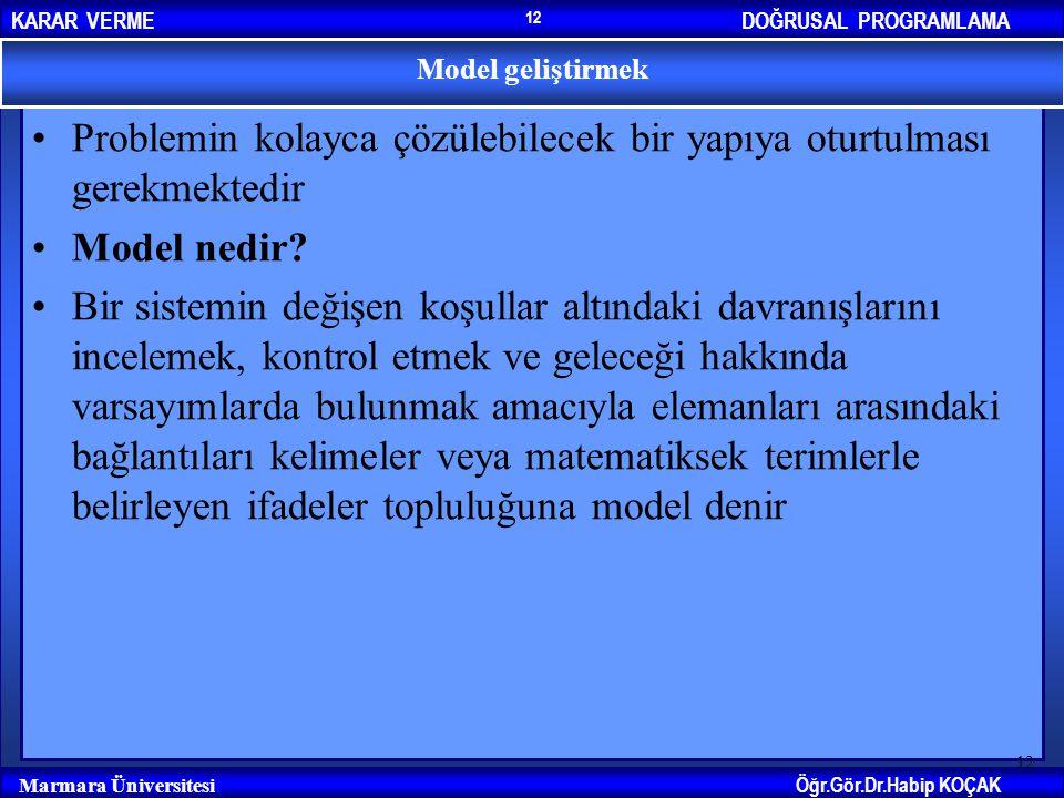 DOĞRUSAL PROGRAMLAMAKARAR VERME Öğr.Gör.Dr.Habip KOÇAK Marmara Üniversitesi 12 Problemin kolayca çözülebilecek bir yapıya oturtulması gerekmektedir Mo