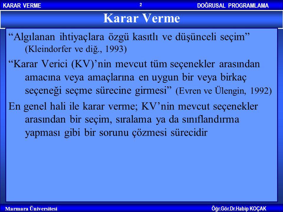 """DOĞRUSAL PROGRAMLAMAKARAR VERME Öğr.Gör.Dr.Habip KOÇAK Marmara Üniversitesi 2 Karar Verme """"Algılanan ihtiyaçlara özgü kasıtlı ve düşünceli seçim"""" (Kle"""