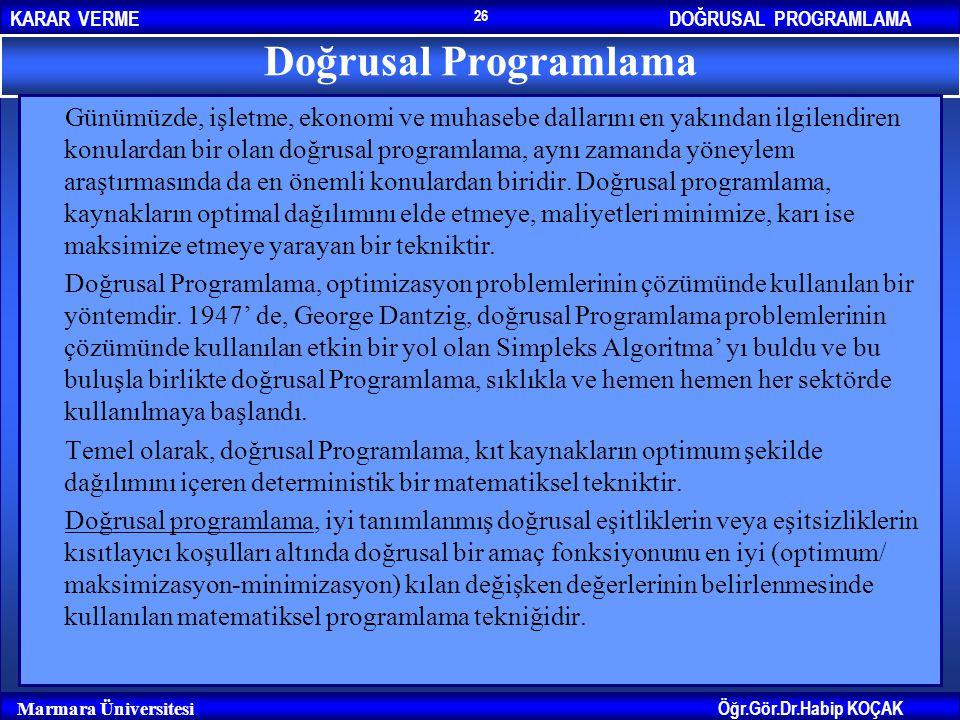 DOĞRUSAL PROGRAMLAMAKARAR VERME Öğr.Gör.Dr.Habip KOÇAK Marmara Üniversitesi 26 Doğrusal Programlama Günümüzde, işletme, ekonomi ve muhasebe dallarını
