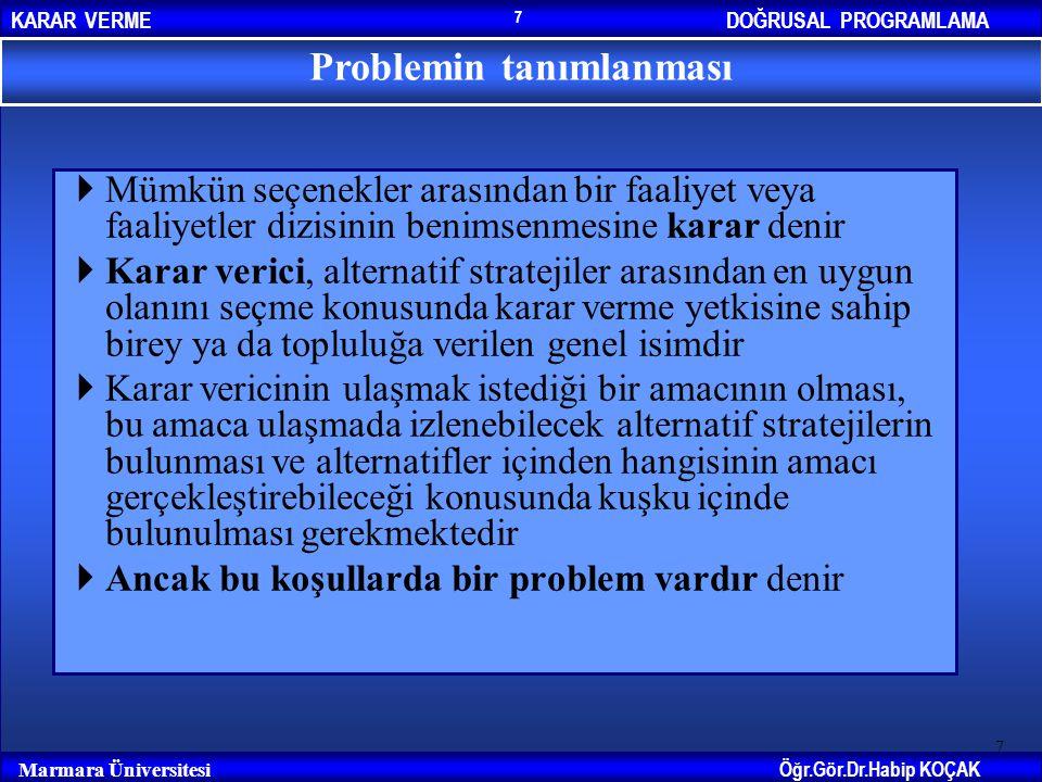 DOĞRUSAL PROGRAMLAMAKARAR VERME Öğr.Gör.Dr.Habip KOÇAK Marmara Üniversitesi 7  Mümkün seçenekler arasından bir faaliyet veya faaliyetler dizisinin be