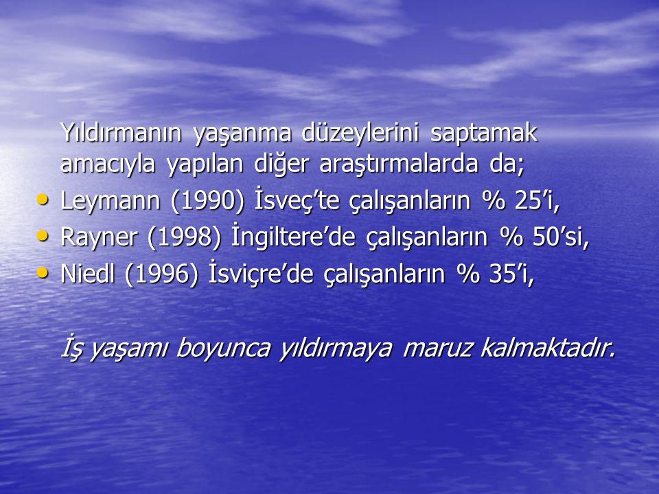 Yıldırmanın yaşanma düzeylerini saptamak amacıyla yapılan diğer araştırmalarda da; Leymann (1990) İsveç'te çalışanların % 25'i, Leymann (1990) İsveç't
