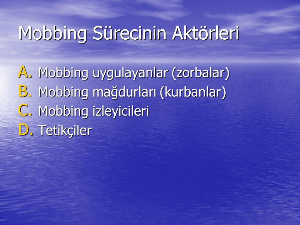 Mobbing Sürecinin Aktörleri A. Mobbing uygulayanlar (zorbalar) B. Mobbing mağdurları (kurbanlar) C. Mobbing izleyicileri D. Tetikçiler