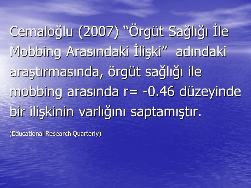 """Cemaloğlu (2007) """"Örgüt Sağlığı İle Mobbing Arasındaki İlişki"""" adındaki araştırmasında, örgüt sağlığı ile mobbing arasında r= -0.46 düzeyinde bir iliş"""