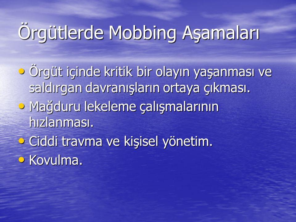 Örgütlerde Mobbing Aşamaları Örgüt içinde kritik bir olayın yaşanması ve saldırgan davranışların ortaya çıkması. Örgüt içinde kritik bir olayın yaşanm