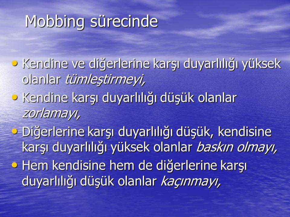 Mobbing sürecinde Kendine ve diğerlerine karşı duyarlılığı yüksek olanlar tümleştirmeyi, Kendine ve diğerlerine karşı duyarlılığı yüksek olanlar tümle