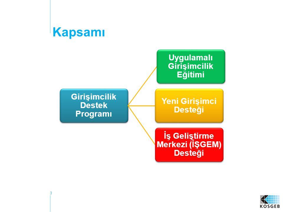 Kapsamı Girişimcilik Destek Programı Uygulamalı Girişimcilik Eğitimi Yeni Girişimci Desteği İş Geliştirme Merkezi (İŞGEM) Desteği 3