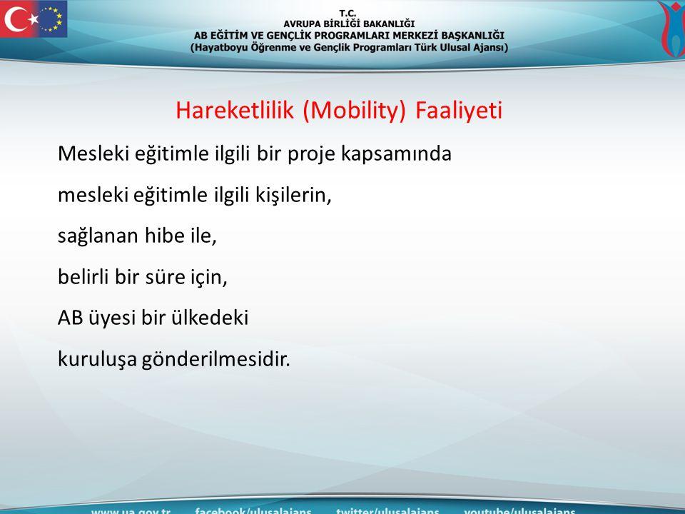 Hareketlilik (Mobility) Faaliyeti Proje temelli bir faaliyettir.