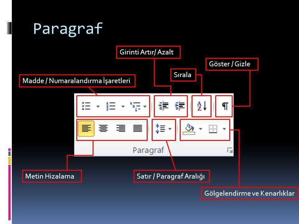 Paragraf Madde / Numaralandırma İşaretleri Girinti Artır/ Azalt Sırala Göster / Gizle Metin HizalamaSatır / Paragraf Aralığı Gölgelendirme ve Kenarlık