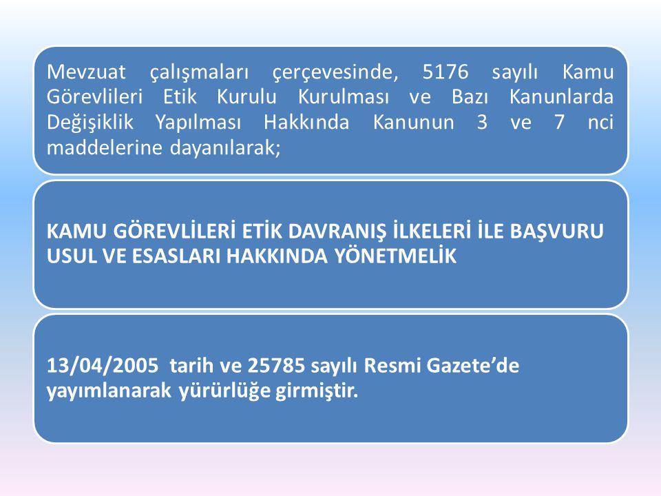 Mevzuat çalışmaları çerçevesinde, 5176 sayılı Kamu Görevlileri Etik Kurulu Kurulması ve Bazı Kanunlarda Değişiklik Yapılması Hakkında Kanunun 3 ve 7 n