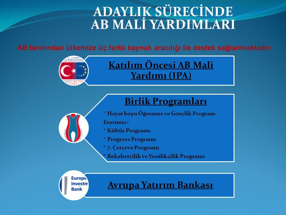 ADAYLIK SÜRECİNDE AB MALİ YARDIMLARI AB tarafından ülkemize üç farklı kaynak aracılığı ile destek sağlanmaktadır : Katılım Öncesi AB Mali Yardımı (IPA
