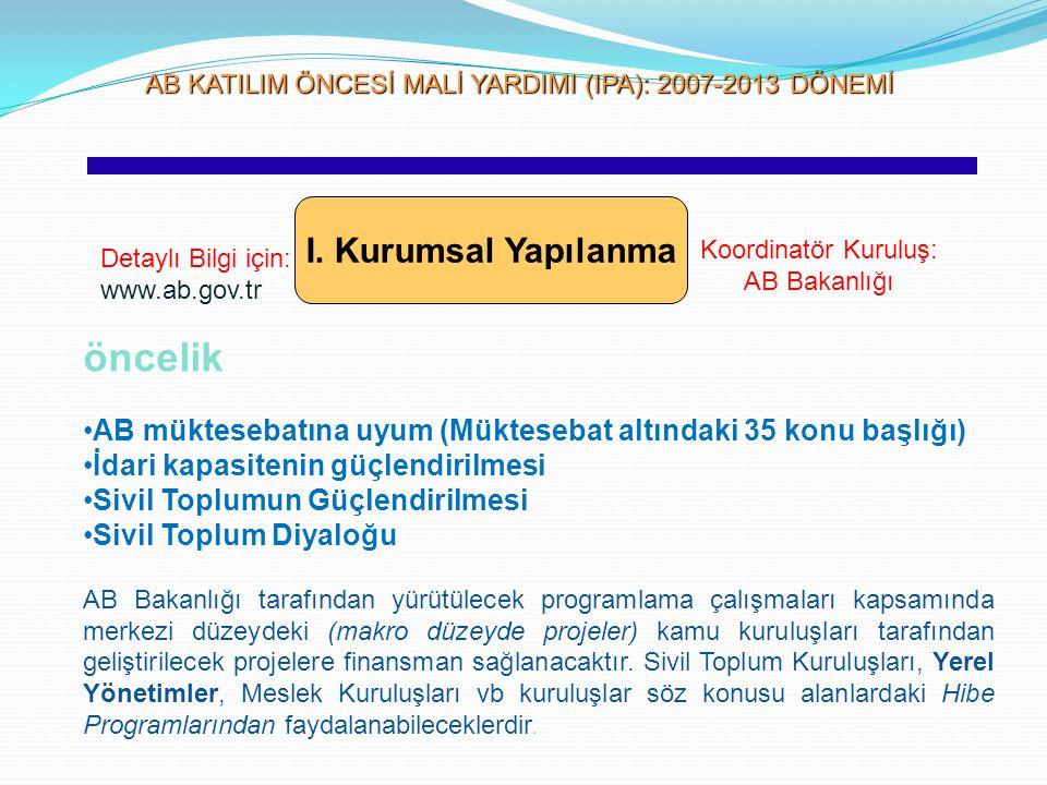 AB KATILIM ÖNCESİ MALİ YARDIMI (IPA): 2007-2013 DÖNEMİ AB KATILIM ÖNCESİ MALİ YARDIMI (IPA): 2007-2013 DÖNEMİ I. Kurumsal Yapılanma Detaylı Bilgi için