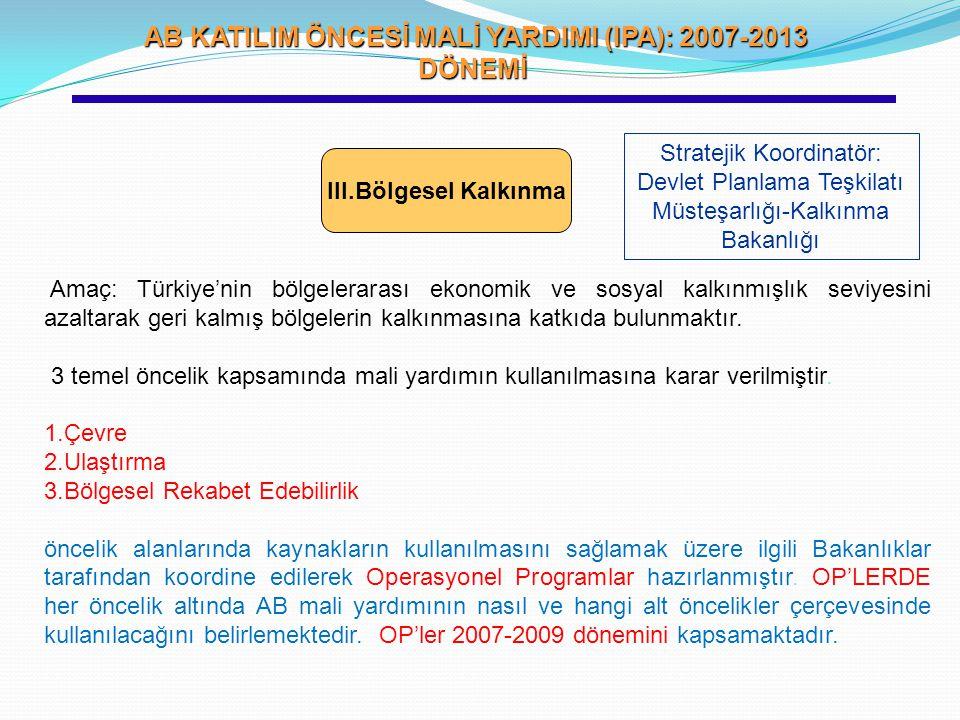 AB KATILIM ÖNCESİ MALİ YARDIMI (IPA): 2007-2013 DÖNEMİ AB KATILIM ÖNCESİ MALİ YARDIMI (IPA): 2007-2013 DÖNEMİ III.Bölgesel Kalkınma Stratejik Koordina