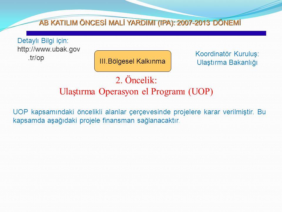 AB KATILIM ÖNCESİ MALİ YARDIMI (IPA): 2007-2013 DÖNEMİ AB KATILIM ÖNCESİ MALİ YARDIMI (IPA): 2007-2013 DÖNEMİ III.Bölgesel Kalkınma 2. Öncelik: Ulaştı