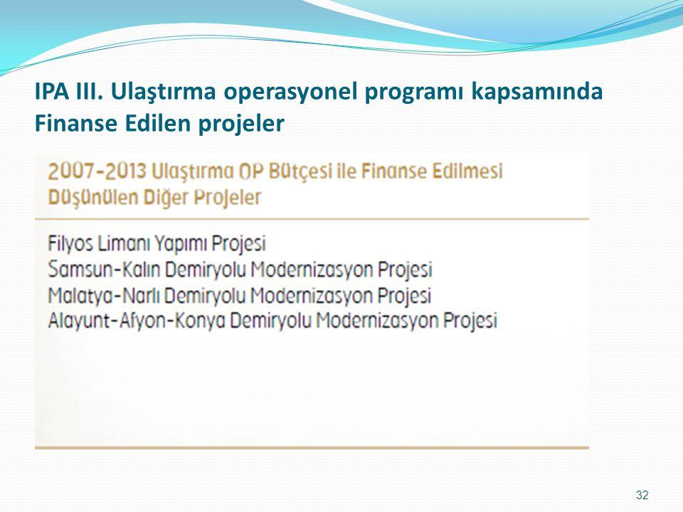 IPA III. Ulaştırma operasyonel programı kapsamında Finanse Edilen projeler 32
