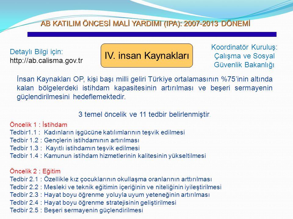 AB KATILIM ÖNCESİ MALİ YARDIMI (IPA): 2007-2013 DÖNEMİ AB KATILIM ÖNCESİ MALİ YARDIMI (IPA): 2007-2013 DÖNEMİ IV. insan Kaynakları Koordinatör Kuruluş