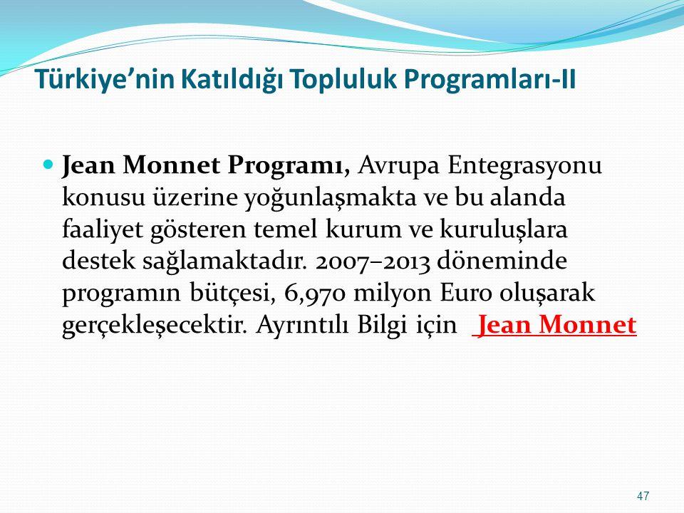Türkiye'nin Katıldığı Topluluk Programları-II Jean Monnet Programı, Avrupa Entegrasyonu konusu üzerine yoğunlaşmakta ve bu alanda faaliyet gösteren te
