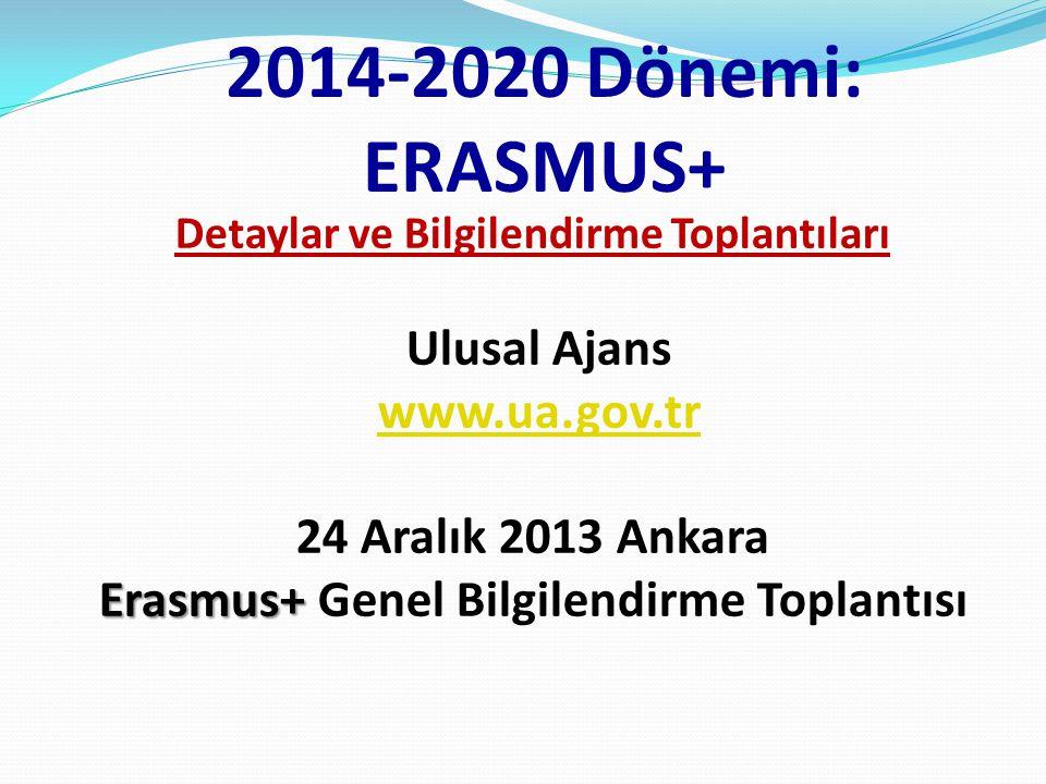 2014-2020 Dönemi: ERASMUS+ Detaylar ve Bilgilendirme Toplantıları Ulusal Ajans www.ua.gov.tr 24 Aralık 2013 Ankara Erasmus+ Erasmus+ Genel Bilgilendir