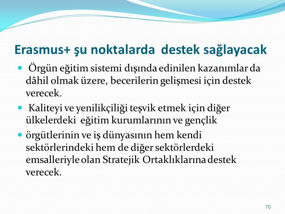 Erasmus+ şu noktalarda destek sağlayacak Örgün eğitim sistemi dışında edinilen kazanımlar da dâhil olmak üzere, becerilerin gelişmesi için destek vere