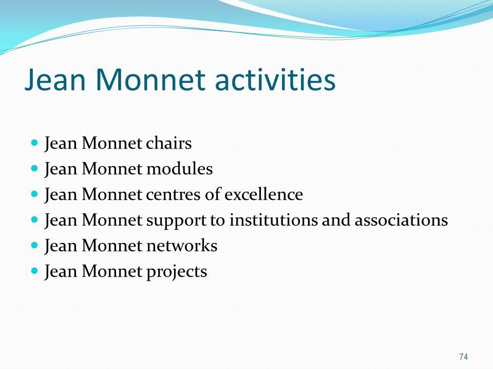 Jean Monnet activities Jean Monnet chairs Jean Monnet modules Jean Monnet centres of excellence Jean Monnet support to institutions and associations J