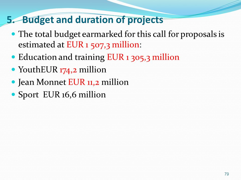 5. Budget and duration of projects The total budget earmarked for this call for proposals is estimated at EUR 1 507,3 million: Education and training