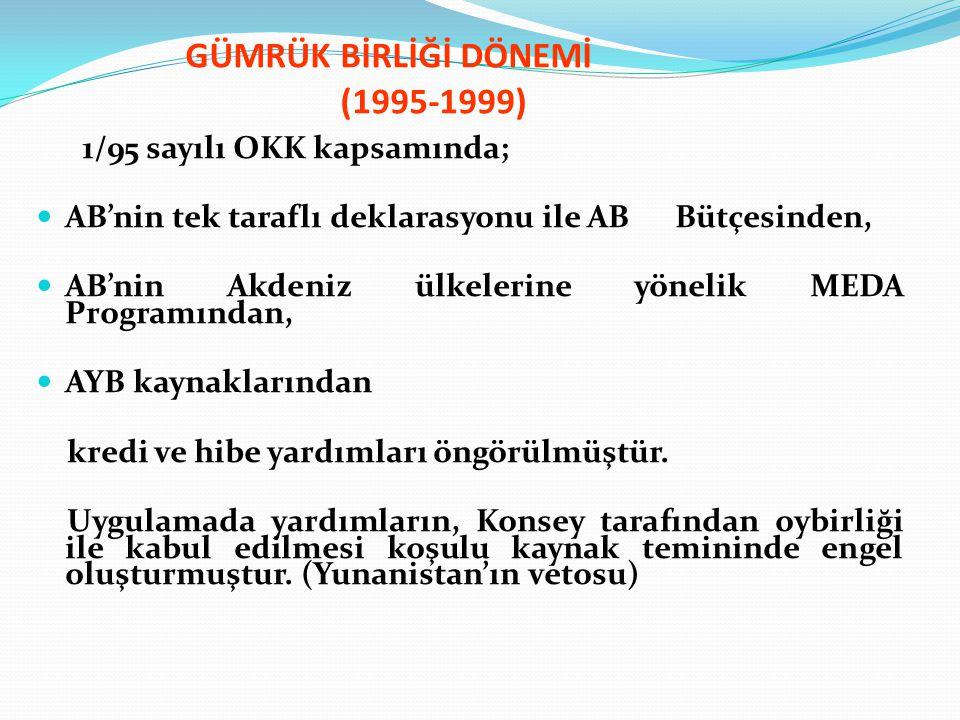 GÜMRÜK BİRLİĞİ DÖNEMİ (1995-1999) 1/95 sayılı OKK kapsamında; AB'nin tek taraflı deklarasyonu ile AB Bütçesinden, AB'nin Akdeniz ülkelerine yönelik ME