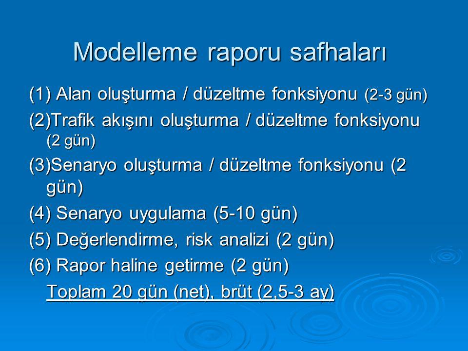 (1) Alan oluşturma / düzeltme fonksiyonu (2-3 gün) (2)Trafik akışını oluşturma / düzeltme fonksiyonu (2 gün) (3)Senaryo oluşturma / düzeltme fonksiyonu (2 gün) (4) Senaryo uygulama (5-10 gün) (5) Değerlendirme, risk analizi (2 gün) (6) Rapor haline getirme (2 gün) Toplam 20 gün (net), brüt (2,5-3 ay) Modelleme raporu safhaları