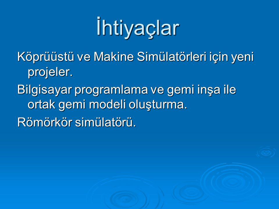 Köprüüstü ve Makine Simülatörleri için yeni projeler.