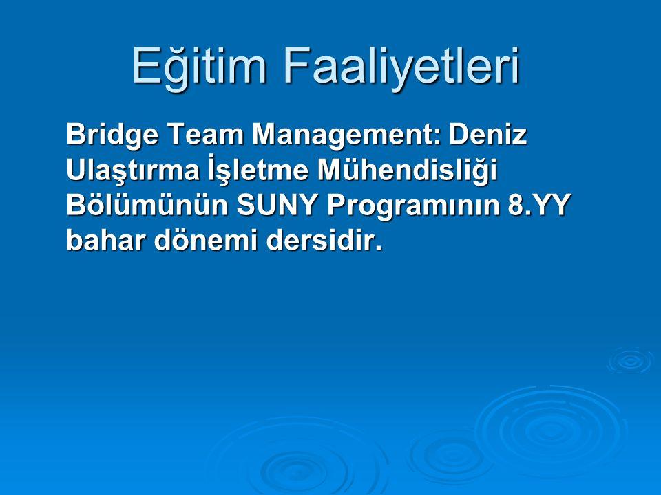 Bridge Team Management: Deniz Ulaştırma İşletme Mühendisliği Bölümünün SUNY Programının 8.YY bahar dönemi dersidir.