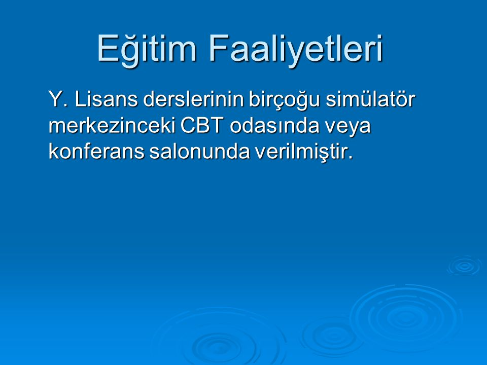 Y. Lisans derslerinin birçoğu simülatör merkezinceki CBT odasında veya konferans salonunda verilmiştir. Eğitim Faaliyetleri