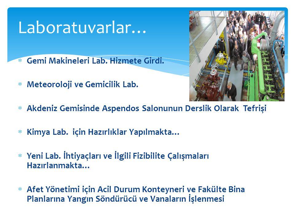 Gemi Makineleri Lab. Hizmete Girdi.  Meteoroloji ve Gemicilik Lab.