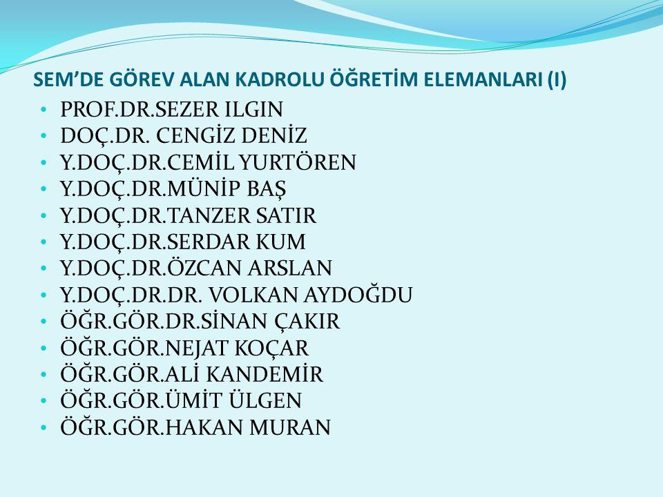SEM'DE GÖREV ALAN KADROLU ÖĞRETİM ELEMANLARI(II) ÖĞR.