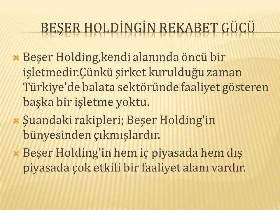  Beşer Holding,kendi alanında öncü bir işletmedir.Çünkü şirket kurulduğu zaman Türkiye'de balata sektöründe faaliyet gösteren başka bir işletme yoktu