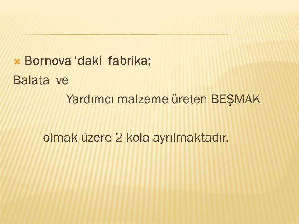  Bornova 'daki fabrika; Balata ve Yardımcı malzeme üreten BEŞMAK olmak üzere 2 kola ayrılmaktadır.