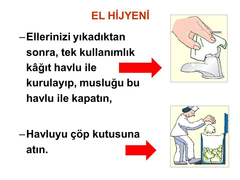 EL HİJYENİ –Ellerinizi yıkadıktan sonra, tek kullanımlık kâğıt havlu ile kurulayıp, musluğu bu havlu ile kapatın, –Havluyu çöp kutusuna atın.